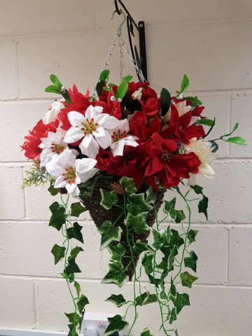 Deluxe Cone Hanging Basket - Wicker, Poinsettia & Ivy